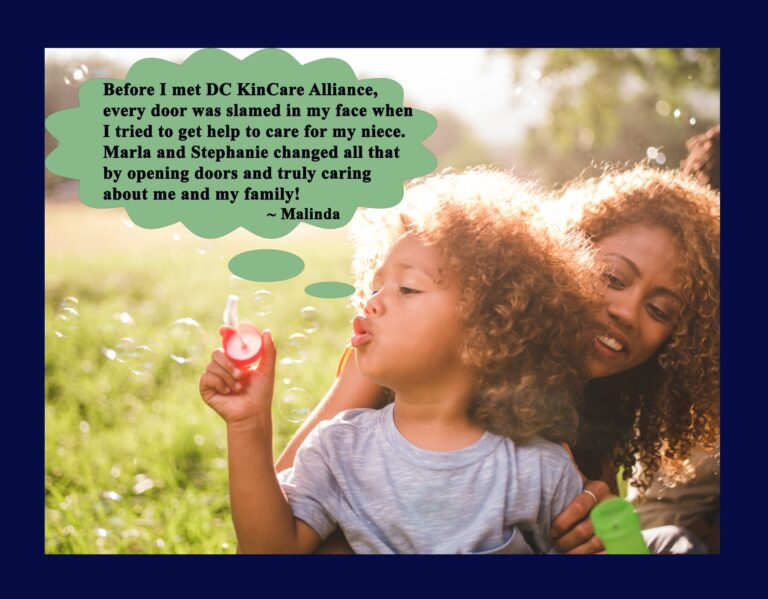 Blowing bubbles with aunt.quote2